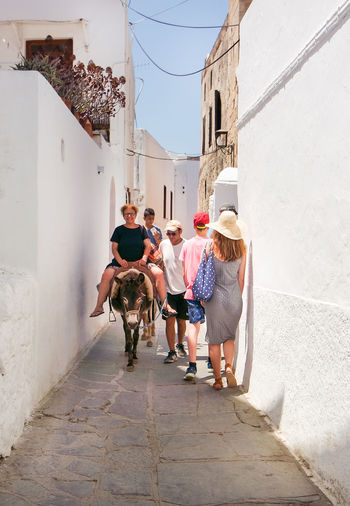 Tourist Attraction  Architecture Building Exterior Built Structure Day Domestic Animals Donkey Donkey Riding Friendship Full Length Leisure Activity Lifestyles Lindos Lindos Greece Mammal Men One Animal Outdoors People Real People Standing Summer Walking Summer Road Tripping