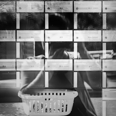 iPuzzle Selfie Selfportrait Blackandwhite Mailbox Laundry Basket Mirroring Reflection Spreitenbach A New Perspective On Life Capture Tomorrow Architecture Pattern