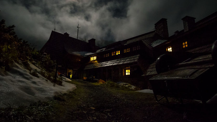 Tatra Mountains Architecture Building Building Exterior Built Structure Cloud - Sky Dark Dusk House Illuminated Land Low Angle View Mountain Mountain Hut Mountains And Valleys Nature Night No People Ominous Outdoors Sky Storm Storm Cloud Transportation HUAWEI Photo Award: After Dark EyeEmNewHere My Best Photo