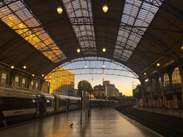 [ Sun Down ] Vanishing Point Iphonephotography Victoria Train Station Evening Sky London Lifestyle The Graphic City