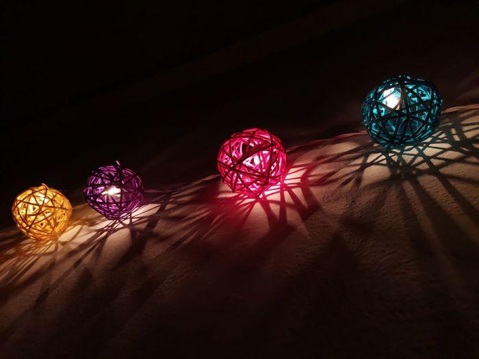 Illuminated lights in the dark