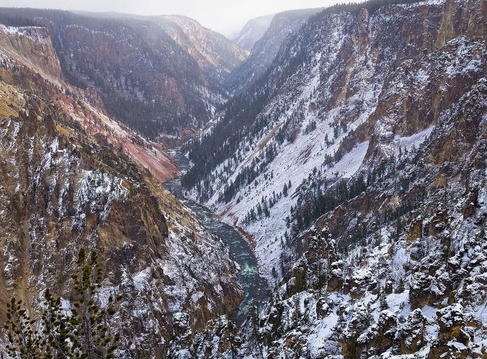 Beauty In Nature Covering Day Grand Canyon Of Yellowstone Idyllic Landscape Majestic Mountain Mountain Range Nature No People Non Urban Scene Non-urban Scene Outdoors Remote River Scenics Season  Sky Snow Snowcapped Mountain Tranquil Scene Tranquility Weather Yellowstone National Park