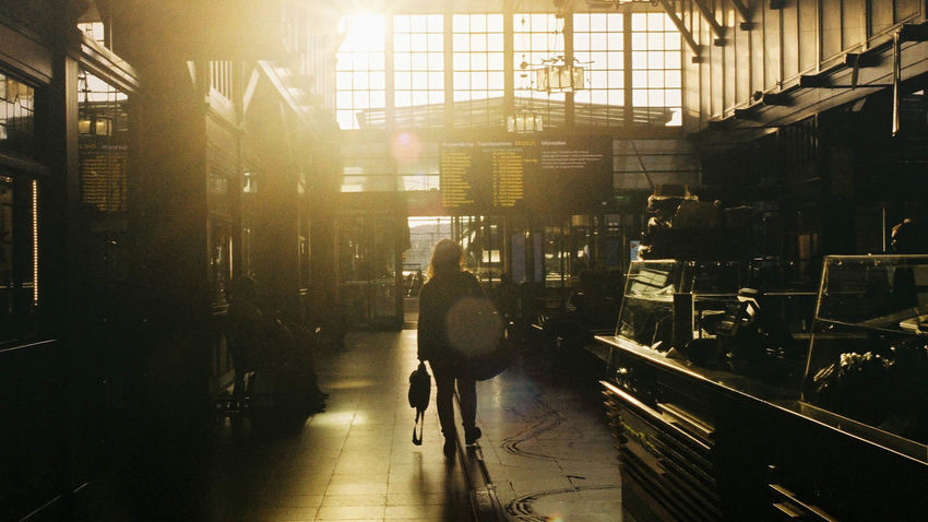 Gothenburg, Sweden Morning Sunlight Transportation Travelling Architecture Built Structure Day Film Photography Indoors  Lifestyles Men Nikonf2 One Person People Proimage100 Real People Train Station Warm Colors Warm Light