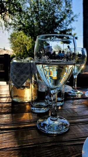 Close-up of wine glass on table at restaurant