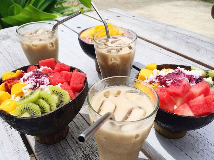 Good Food, Good Mood. Siargao Food And Drink Freshness Food Drink Healthy Eating Fruit Glass Smoothie Strawberry Kiwi Berry Fruit Refreshment Drinking Straw