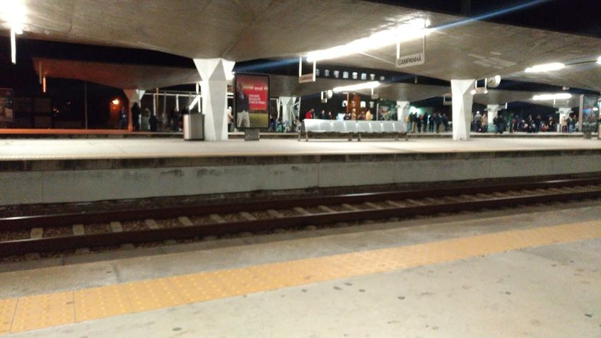 Illuminated Railroad Station Platform Men Public Transportation Railroad Track Rail Transportation Railroad Station Train - Vehicle