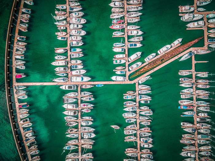 Looking straight down at boats moored at Sandringham Marina. Melbourne, Victoria, Australia Aerial Aerial View Close-up Day Full Frame Green Color High Angle View Marina Moored Boats No People Outdoors Top View Yachts