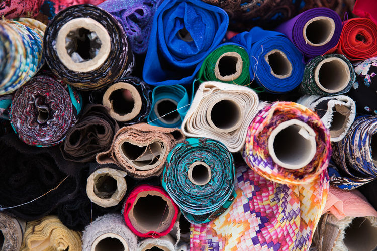 Full Frame Shot Of Colorful Fabric Rolls At Store
