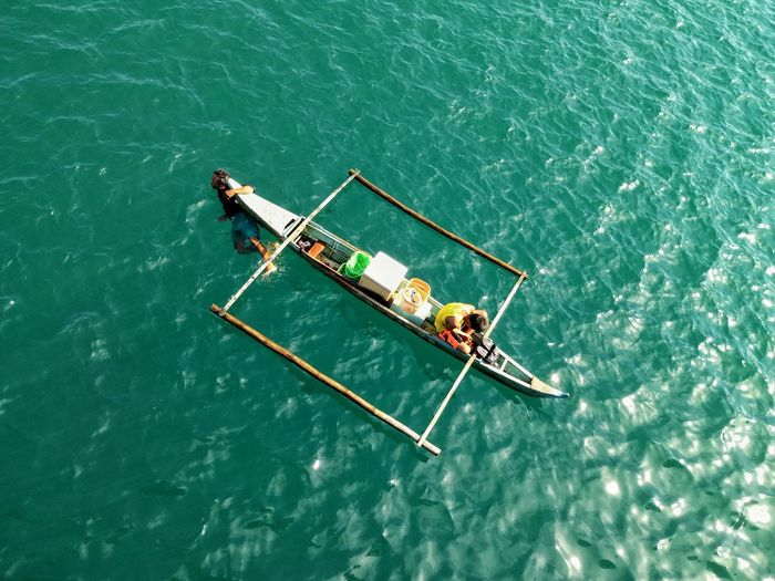 The Seamen Mode Of Transport Outdoors Transportation High Angle View Gondola - Traditional Boat Rowing Water Nature Sea Nature Summertime Sadness Seascape Photography Eyeem Philippines Nature Photography EyeEm Best Shots SeaScapePhotography Green Color Nature Photography Xperia XA Ultra