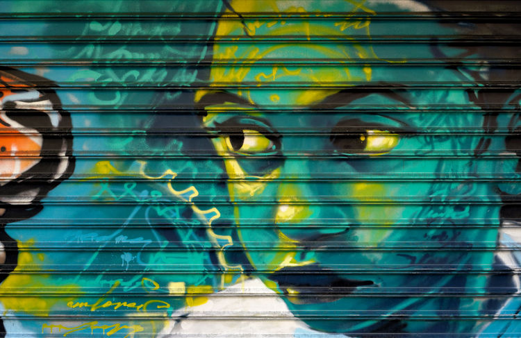 Corrugated Brooklyn Colourful Corrugated Crown Heights Graffiti Green Art Black Child Kid Look Looking Skepticism Spraypaint Turqouise