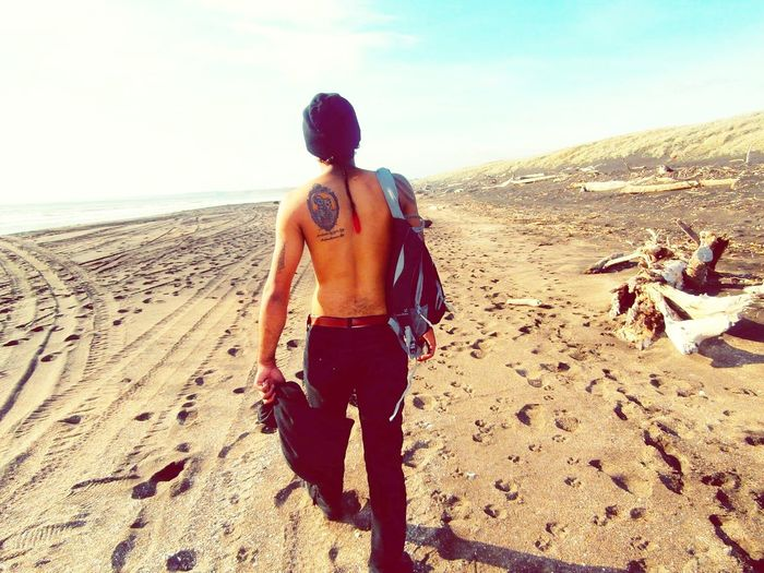 Beach Boyswithtattoos Tattooed Toplessdudesdays No People Outdoors Day Scenics Water One Man Only at Whanganui, New Zealand