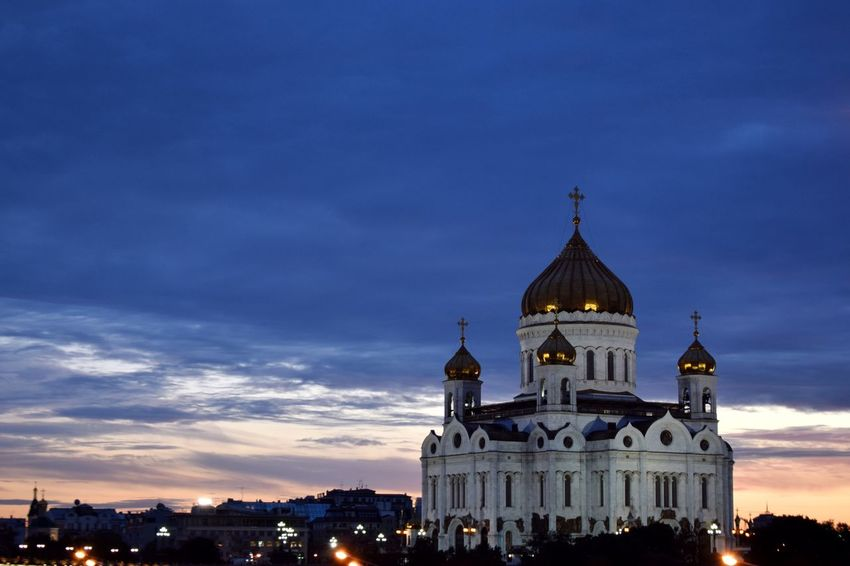 The Moscow City Day 2016 series Building Exterior Architecture Built Structure Dome Religion Spirituality Place Of Worship City Church Sky Cloud - Sky City Life Cathedral Of Christ The Savior Cathedral Architecture Architecture_collection Night Nightphotography Night Photography Clouds And Sky Sky_collection Sky And Clouds Discover Your City The City Light Neighborhood Map