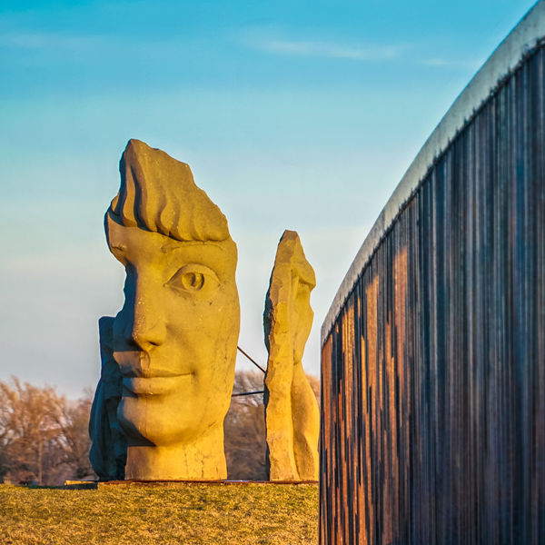 Lachine Lachine Canal Montreal Nature Statue Canada Canada Coast To Coast Close-up Day Dusk Face Human Face Human Representation Low Angle View Monument No People Outdoors Park Sculpture Sky Statue Sunset Time Yellow