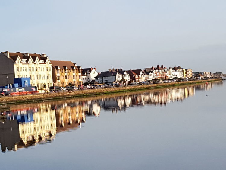 Houses Reflected In Water Marine Lake West Kirby Wirral Tranquil Scene