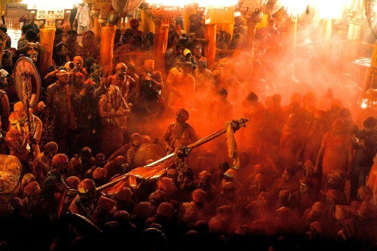People enjoying holi festival