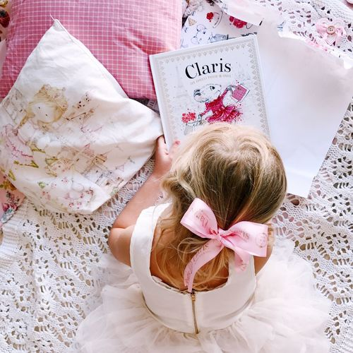 High Angle View Indoors  Directly Above Text Childhood Paper One Person Art And Craft Close-up Textile Representation Floral Pattern Pattern Still Life Western Script Bed White Color Table