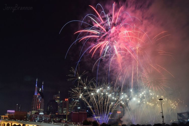 4th Of July show in Nashville was good! Fireworks Nashville Tennessee Celebration Event 4th Of July July 4th Independence Day City Show America USA Flag Colors Buildings Bridge American Red White Blue Tn