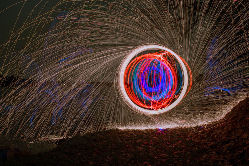 ORB in the Circle Orb Blurred Motion Circle Colorful Illuminated Light Painting Light Trail Lightpainting Long Exposure Motion Multi Colored Night Outdoors Speed Spinning Steelwool Steelwoolphotography Water Wire Wool