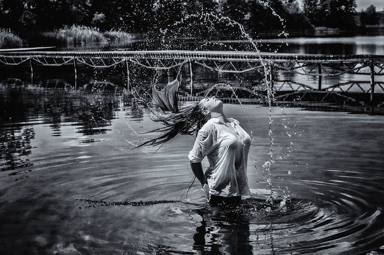 Manual Photography Manual Lens Poland Is Beautiful Portrait Of A Woman Art Of Nature Beautiful Woman Blackandwhite Freezing Time Lake Long Hair Water