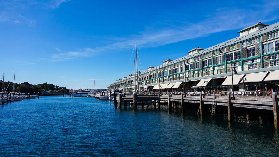 The Finger Wharf at Woolloomooloo Bay Architecture Blue Building Exterior Built Structure City Cloud - Sky Day Mode Of Transport Nature Nautical Vessel No People Outdoors River Sky Transportation Water Waterfront Yacht
