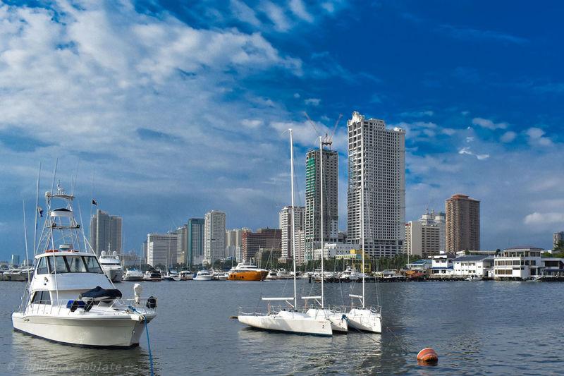 City Cityscape Urban Skyline Nautical Vessel Skyscraper Water Modern Sea Harbor Yacht