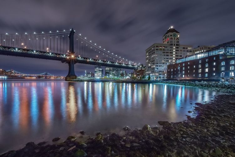 Architecture Bridge - Man Made Structure Built Structure City Cloud Cloud - Sky Cloudy Connection Engineering Illuminated Long Exposure Manhattan Nature Night No People Reflection River Scenics Sky Suspension Bridge Tourism Tranquil Scene Tranquility Travel Destinations Water