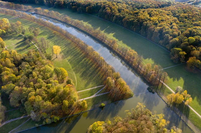 High above Stadtwald and Rhein-Energie-Stadium, Cologne in autumn Nature Day Outdoors Autumn colors Trees Lake Drone Photography Aerial Shot Grass Autumn🍁🍁🍁