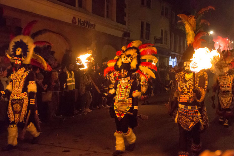 Lewes Bonfire Night, 2017 Bonfire Burning Celebration Flame Lewes November Carnival Celebration Costume Crowd Cultures Fire Large Group Of People Lewes Bonfire Lifestyles Martyrs Motion Night Outdoors Performance Period Costume Real People Street Performer Tradition Traditional Festival