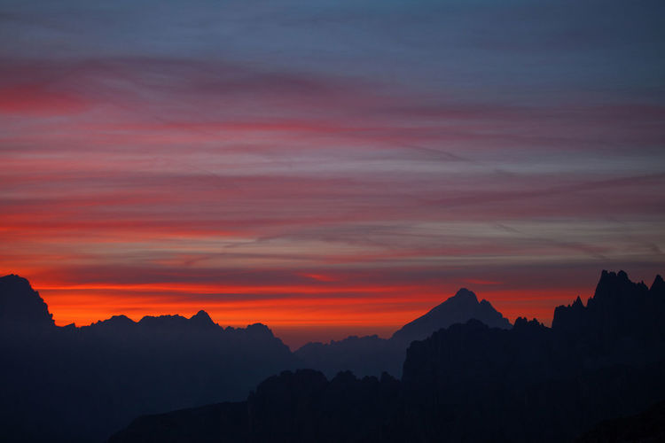 Silhouette Of Mountains Against Sky During Sunset