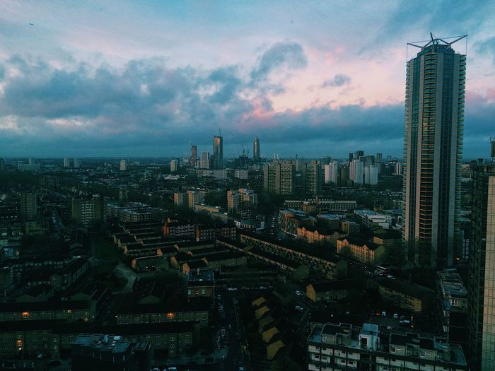 Aerial view of london city  against sky