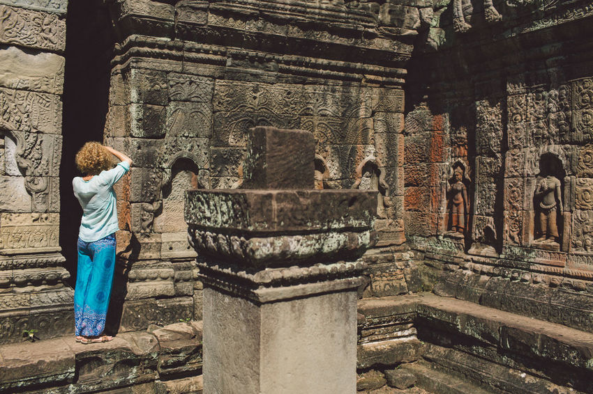 Siem Reap Cambodia Angkor Curly Hair Girl Architecture Built Structure Real People History Building The Past Religion One Person Lifestyles Place Of Worship Building Exterior Women Belief Ancient Clothing Spirituality Day Leisure Activity Tourism Architectural Column Outdoors Ancient Civilization