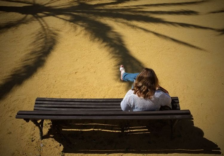 Marbella Shadow Shadows Palm Trees Palmtrees Bench Benches & Branches Sand Relaxing Sunshine Girl