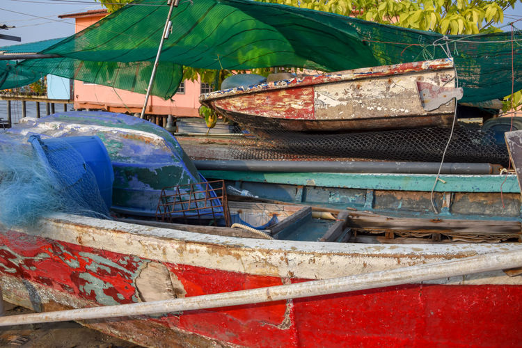 Abandoned Boat Day Mode Of Transport Moored Nautical Vessel No People Old Fishing Boat Outdoors Pataya Thailand Transportation