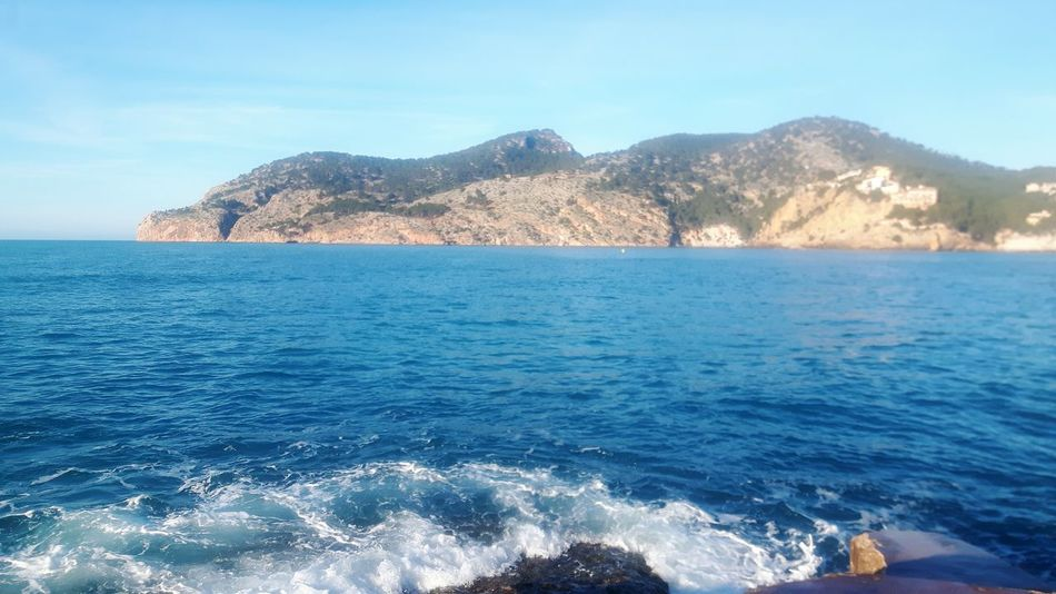 Sea Blue Wave No People Water Beauty In Nature Scenics Beach Outdoors Landscape Sky Mountain Nature Day Peguera Paguera Andratx Mallorca Mallorcaphotographer