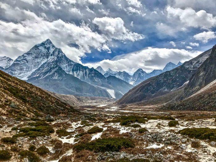 Everest Base Camp Trek Nepal - near Lobuche camp Beauty In Nature Cold Temperature Landscape Mountain Mountain Peak Mountain Range Sky Snowcapped Mountain