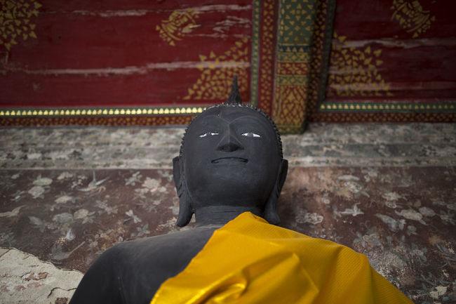 Thailand Bangkok Wat Suthat Buddha Statue Monk  Temple Shadow No People Lotus Leaf Day Close-up Lotus Flower