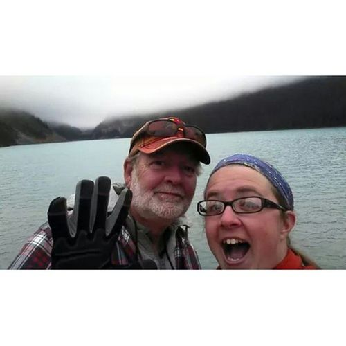"UnclePaul and I at Lakelouise . His first ""selfie""-- he didn't know what to do with his hands Sillybanana Canada roadtrippin"