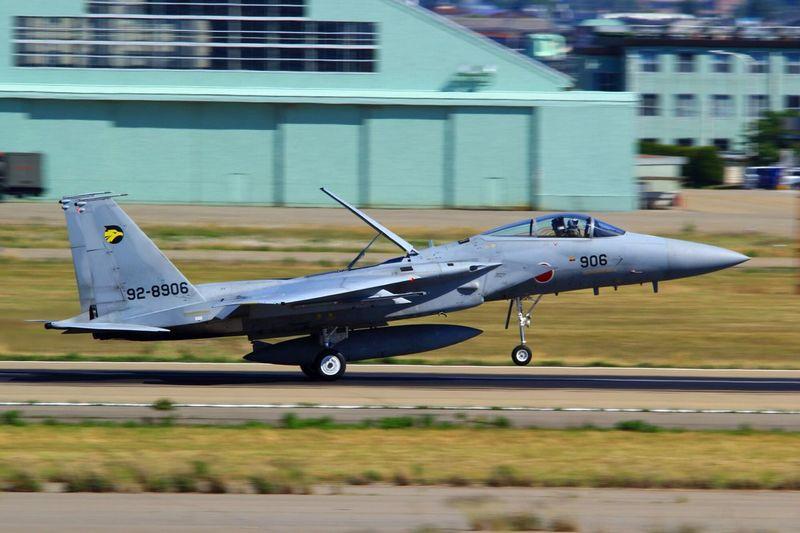 just landing Airplane Komatsu Airport Landing Just Landing Komatsu Air Base F15 Eagle
