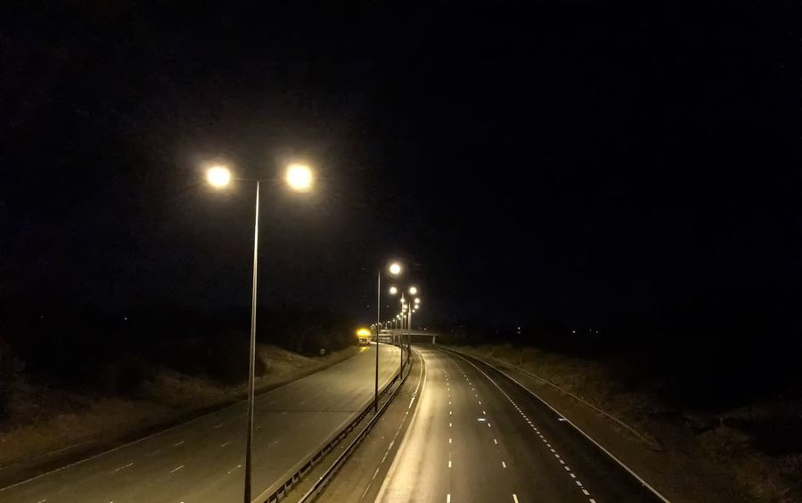 Motorway Empty Empty Road No Cars  Illuminated Night Road Transportation Street Light The Way Forward No People