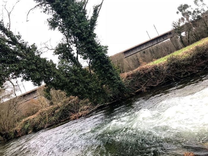 Water River Tree Built Structure Architecture Dam Outdoors No People Bridge - Man Made Structure Waterfall Motion Nature Day Sky