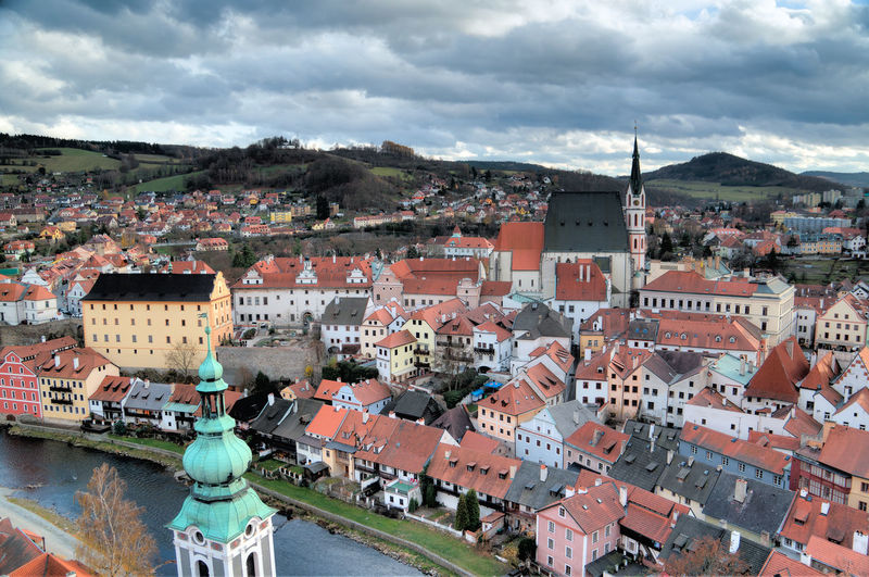 Architecture Building Exterior Built Structure City City Life Cityscape Cloud Cloud - Sky Cloudy Community Czech Czech Republic Day Mountain Old Town Outdoors Residential Building Residential District Residential Structure Roof Sky Town TOWNSCAPE Travel Český Krumlov