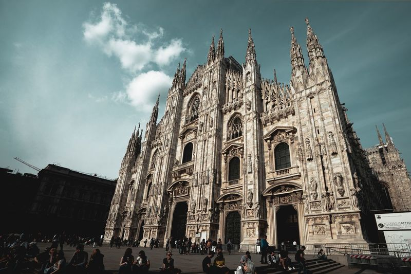 Duomo Di Milano Duomo Milano Milan Italy Building Exterior Architecture Built Structure Religion Belief Place Of Worship Sky Nature Real People Spirituality Low Angle View Tourism Building Gothic Style Ornate Travel Group Of People History