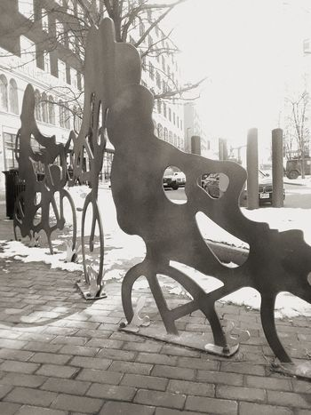 Modern Art Statue Blackandwhite Black And White Ohio Ohio, USA Cleveland St.Patricks Day Transportation Outdoors Day City