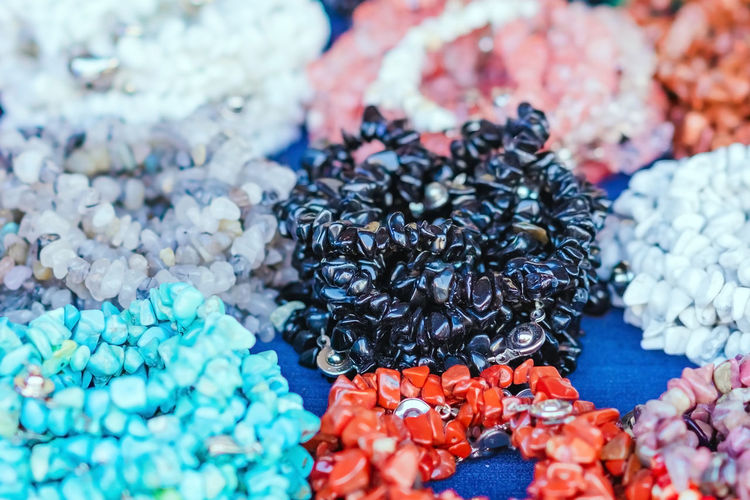 High angle view of beads for sale at market