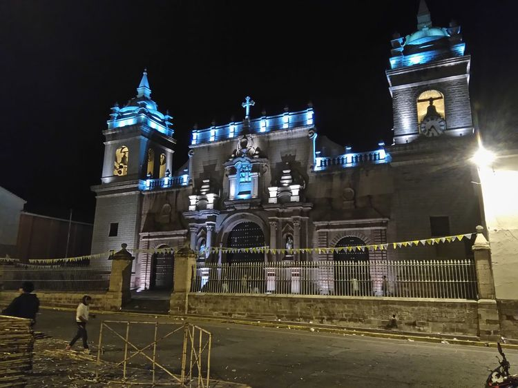 Night Illuminated Travel Destinations Architecture Building Exterior Outdoors No People Nightlife Cityscape City Clock Sky Clock Face Church Ayacucho  Peru