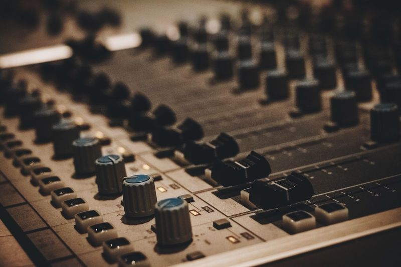 Sound Mixer Sound Recording Equipment Mixing Music Recording Studio Audio Equipment Close-up Knob Studio Control Technology Noise Stereo Control Panel Broadcasting Radio Station Adjusting Electrical Equipment No People Bandwidth