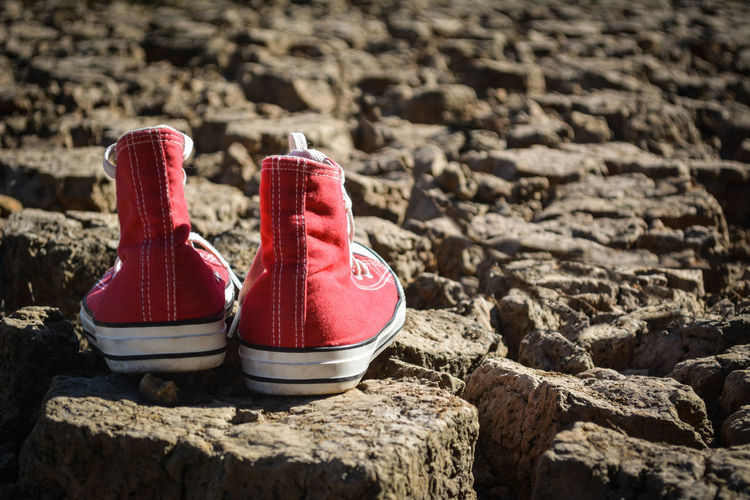 Red Canvas Shoes On Rocks