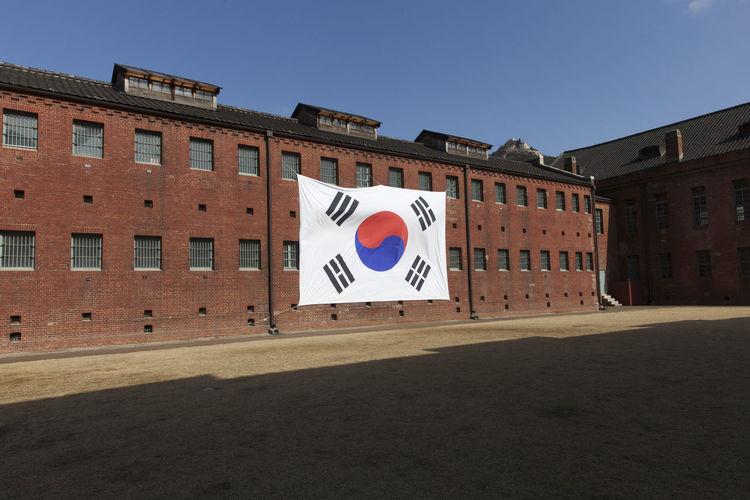 South Korean Flag On Prison Building