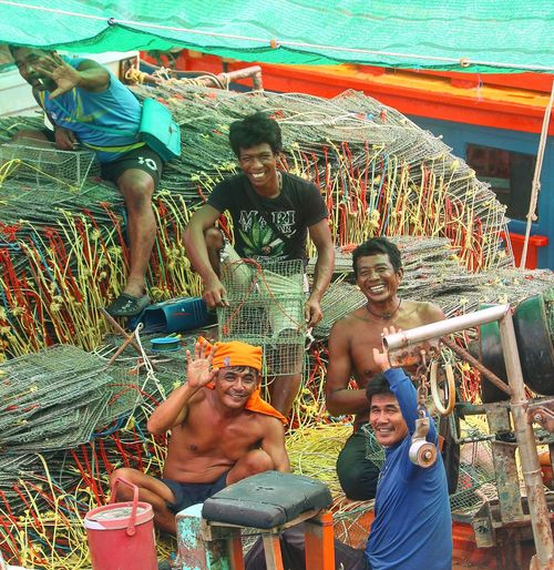 Smiles from the Thai fishermen