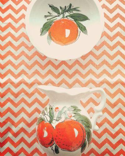 Creativity No People Table Orange Studio Shot Beautifully Organized Pitcher Saucer Vintage